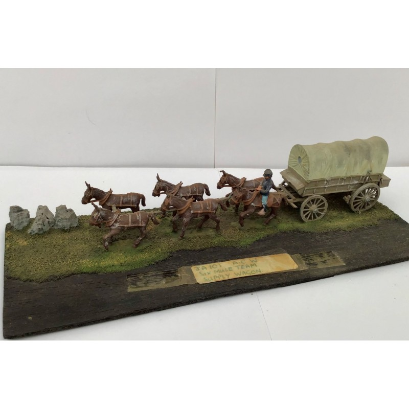 American Civil War – Six mule team supply wagon and one crew