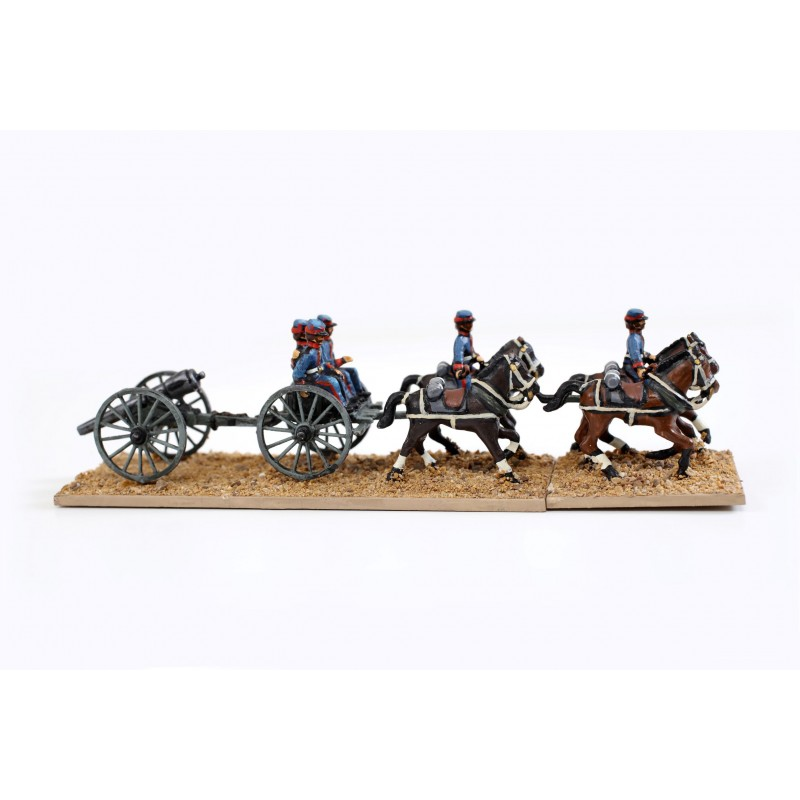 French Intervention in Mexico - Artillery and Equipment - Four horse team field gun, limber and five crew (French, Allied, Republican and Imperial Armies)